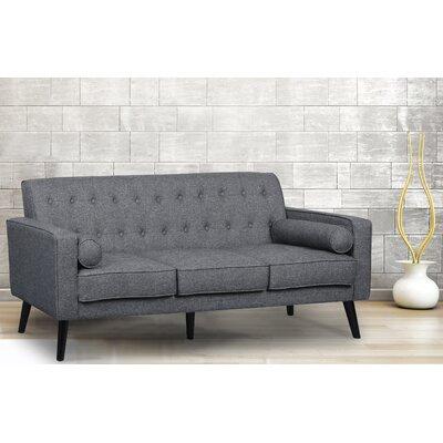 Valadez Mid Century Tufted Sofa Upholstery: Dark Gray