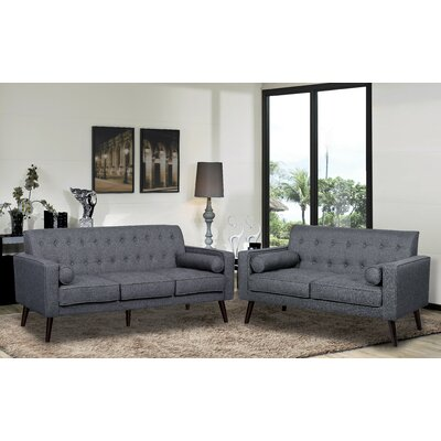 Vandenberg 2 Piece Living Room Set Upholstery: Dark Gray