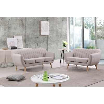 Villalba Sophisticated and Stylish 2 Piece Living Room Set Upholstery: Beige/Light Gray