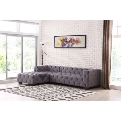 Harris Chesterfield Sectional Orientation: Right Facing, Upholstery: Gray