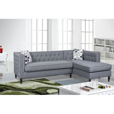 Gosford Tufted and Naihead Sectional Upholstery: Light Gray, Orientation: Right Hand Facing