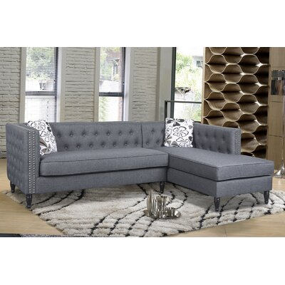Gosford Tufted and Naihead Sectional Upholstery: Dark Gray, Orientation: Left Hand Facing