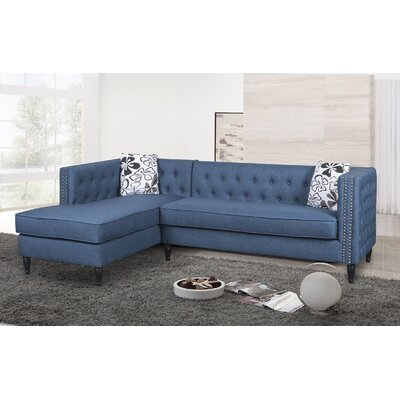 Gosford Tufted and Naihead Sectional Upholstery: Ocean Blue, Orientation: Right Hand Facing