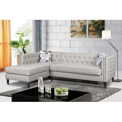 Gosford Tufted and Naihead Sectional Upholstery: Beige, Orientation: Left Hand Facing