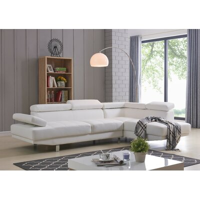 Rangel Elegance Sectional Upholstery: White, Orientation: Right Hand Facing