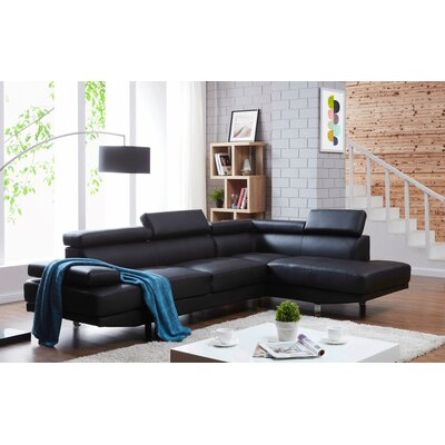 Rangel Elegance Sectional Upholstery: Black, Orientation: Right Hand Facing