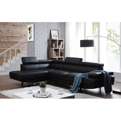 Rangel Elegance Sectional Upholstery: Black, Orientation: Left Hand Facing
