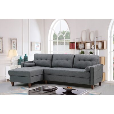 Weatherall Tufted Sectional Upholstery: Dark Gray