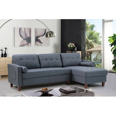 Weatherall Tufted Sectional Upholstery: Dark Blue