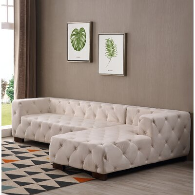 Harris Chesterfield Sectional Orientation: Right Facing, Upholstery: Beige/Tan