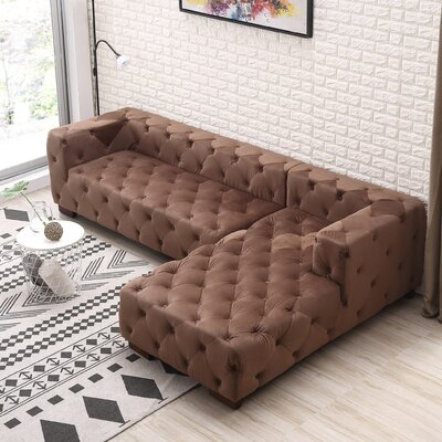 Harris Chesterfield Sectional Orientation: Right Facing, Upholstery: Brown