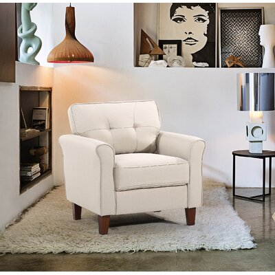 Kouchouk Tufted Mid Century Armchair Upholstery: Beige/Tan