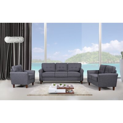 Rosenow Tufted Mid Century 3 Piece Living Room Set Upholstery: Dark Gray