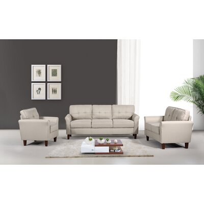 Rosenow Tufted Mid Century 3 Piece Living Room Set Upholstery: Beige/Tan