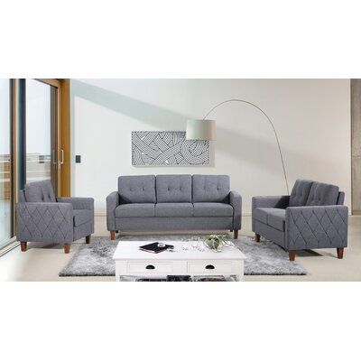 Harrad Tufted Mid-Century 3 Piece Living Room Set Upholstery: Dark Gray