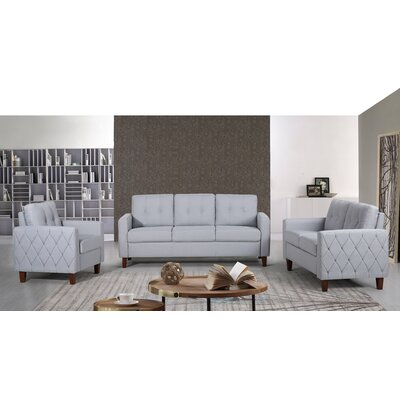 Harrad Tufted Mid-Century 3 Piece Living Room Set Upholstery: Light Gray