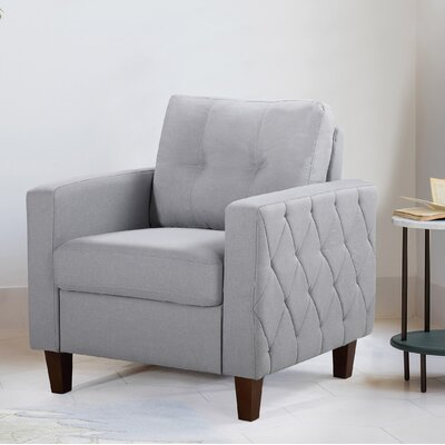 Persis Tufted Mid Century Armchair Upholstery: Light Gray, Finish: Dark Brown