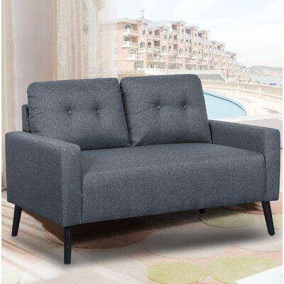 Watterson Tufted Mid-Century Loveseat Upholstery: Dark Gray