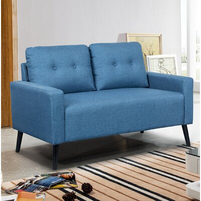Watterson Tufted Mid-Century Loveseat Upholstery: Ocean Blue