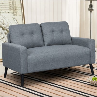 Watterson Tufted Mid-Century Loveseat Upholstery: Light Gray