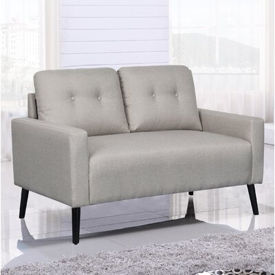 Watterson Tufted Mid-Century Loveseat Upholstery: Beige/Light Gray