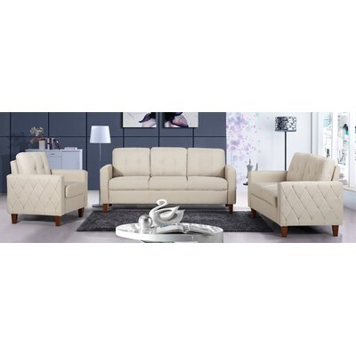 Harrad Tufted Mid-Century 3 Piece Living Room Set Upholstery: Beige/Tan