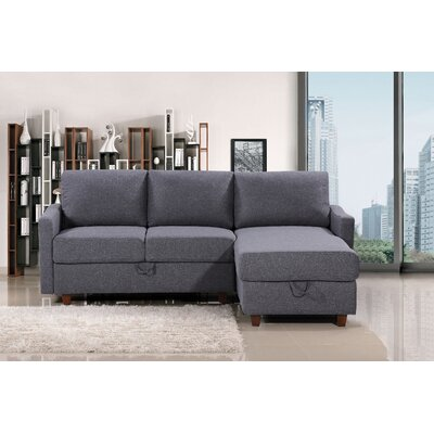 Miers Storage Reversible Sectional Upholstery : Dark Gray