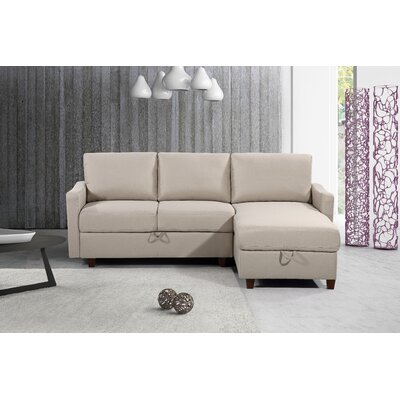 Miers Storage Reversible Sectional Upholstery : Beige/Tan