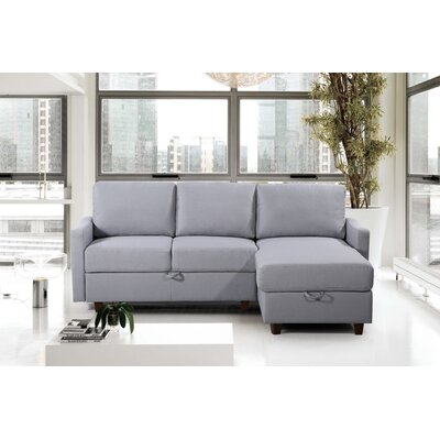 Miers Storage Reversible Sectional Upholstery : Light Gray