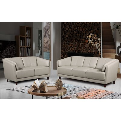 Govan Modern Mid-Century 2 Piece Leather Living Room Set Upholstery: Gray