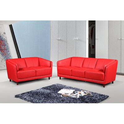 Govan Modern Mid-Century 2 Piece Leather Living Room Set Upholstery: Red