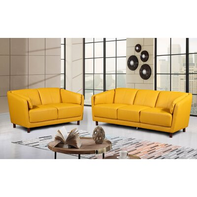 Govan Modern Mid-Century 2 Piece Leather Living Room Set Upholstery: Yellow/Mastard