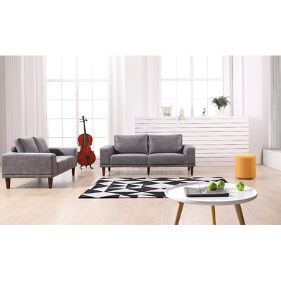 Wheatley Modern Luxurious 2 Piece Leather Living Room Set Upholstery: Gray