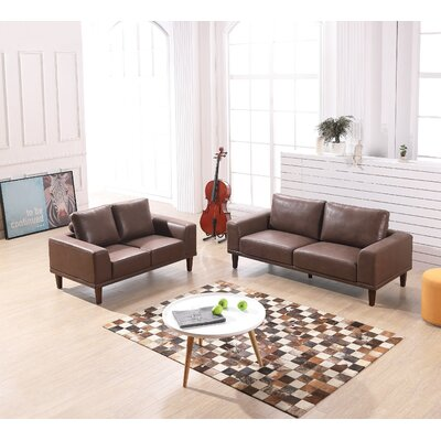 Wheatley Modern Luxurious 2 Piece Leather Living Room Set Upholstery: Brown/Tan