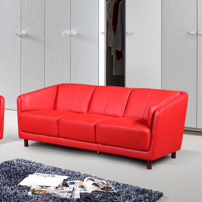 Evertsen Mid-century Modern Sofa Upholstery: Red
