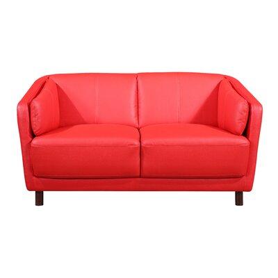 Whitesides Mid-century Modern Loveseat Upholstery: Red