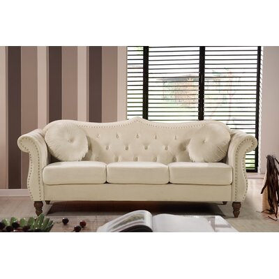 Holder Nailhead Chesterfield Sofa Upholstery: Ivory