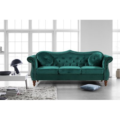 Holder Nailhead Chesterfield Sofa Upholstery: Green