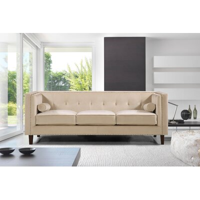Kittleson Classic Nailhead Chesterfield Sofa Upholstery: Ivory
