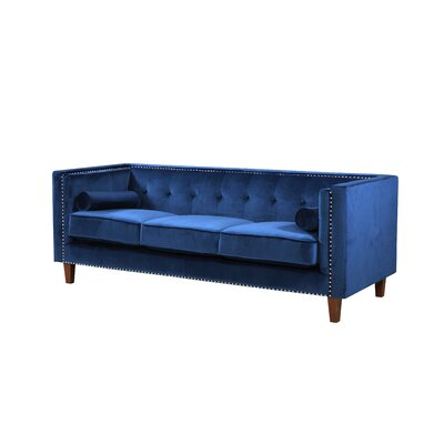 Kittleson Classic Nailhead Chesterfield Sofa Upholstery: Blue