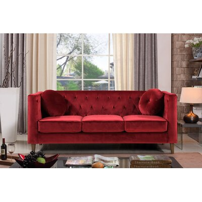 Kitts Classic Chesterfield Sofa Upholstery: Dark Red/Burgundy