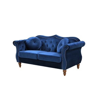 Bridges Classic Nailhead Chesterfield Loveseat Upholstery: Blue