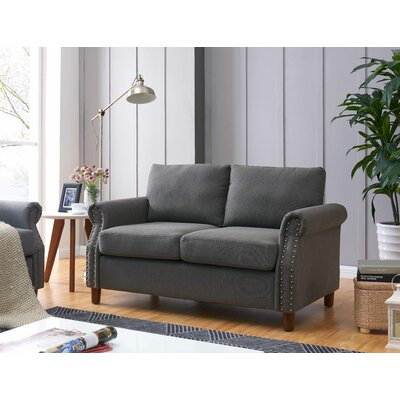 Cowie Classic Nailhead Loveseat Upholstery: Dark Gray