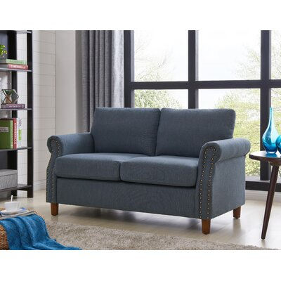 Cowie Classic Nailhead Loveseat Upholstery: Dark Blue
