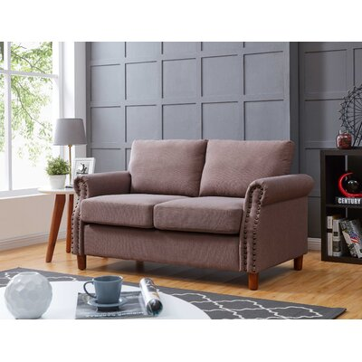 Cowie Classic Nailhead Loveseat Upholstery: Rosy brown