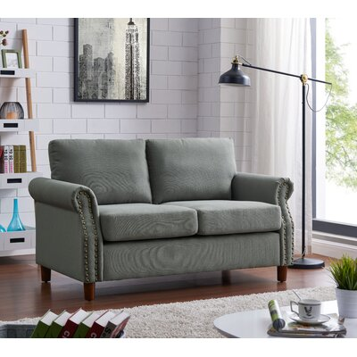 Cowie Classic Nailhead Loveseat Upholstery: Gray