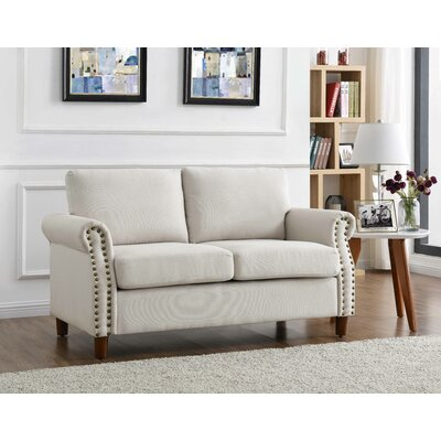 Cowie Classic Nailhead Loveseat Upholstery: Beige/Tan