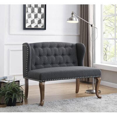 Cowles Tufted Chesterfield Loveseat Upholstery: Dark Gray
