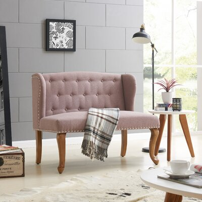 Cowles Tufted Chesterfield Loveseat Upholstery: Rosy Brown