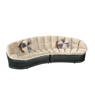 Papasan Sectional with Ottoman Color: Light Brown
